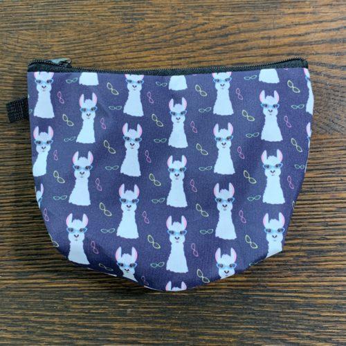 Blue Makeup Bag With Cartoon Alpacas in Glasses