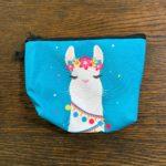Light Blue Makeup Bag With White Cartoon Alpaca