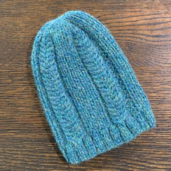 Blue and Green Trenza Knit Hat
