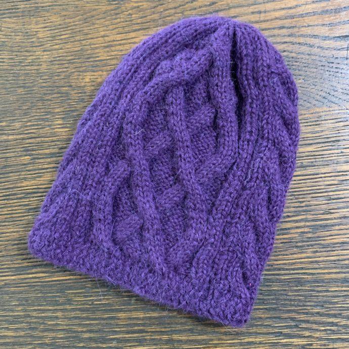 Purple Trenza Knit Hat in 100% Alpaca