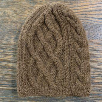 Brown Trenza Knit Hat in 100% Alpaca