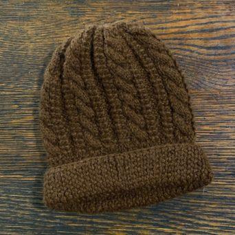 Dark Brown Trenza Knit Hat in 100% Alpaca