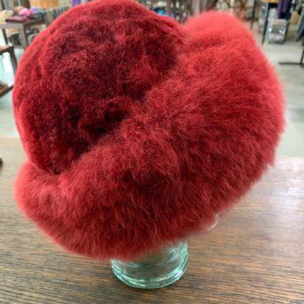Maroon Baby Alpaca Fur Hat