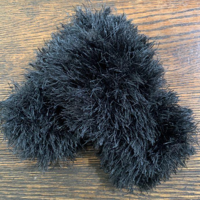 Black Fun Fur and Alpaca Wrist Warmers