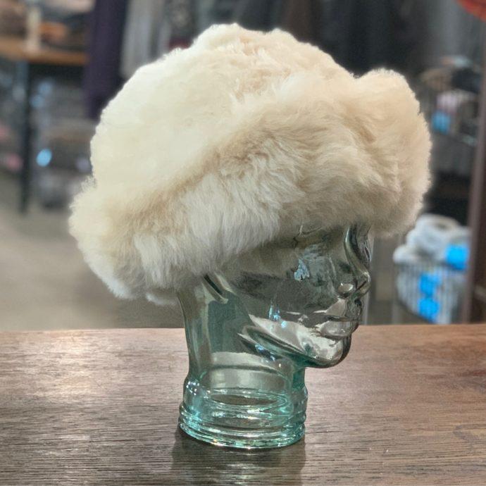 Beige Baby Alpaca Fur Hat