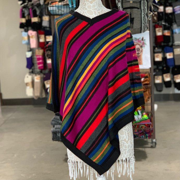 Black Alpaca Poncho With Stripes and V-Neck Collar