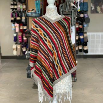 Grey Alpaca Poncho With Stripes and V-Neck Collar