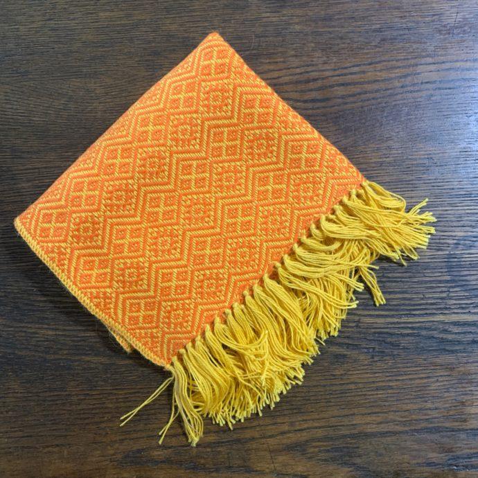 Orange and Yellow Baby Alpaca Shawl With Fringes