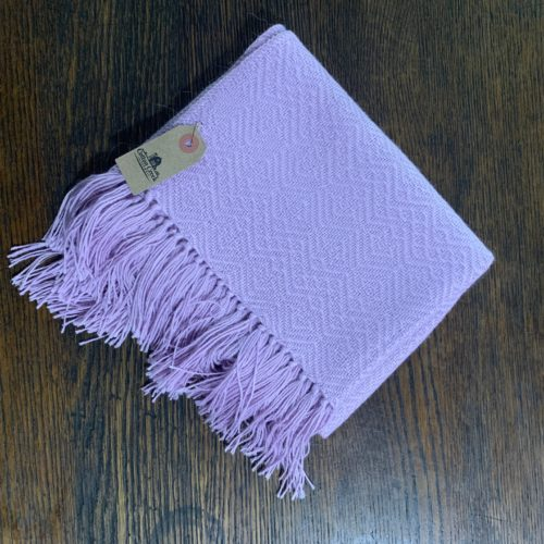 Lavender Baby Alpaca Shawl With Fringes