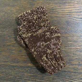 Fingerless Alpaca Gloves in Brown