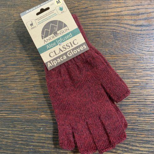 AS Red Alpaca Fingerless Gloves