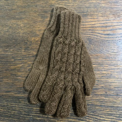 100% Alpaca Trenza Gloves in Brown