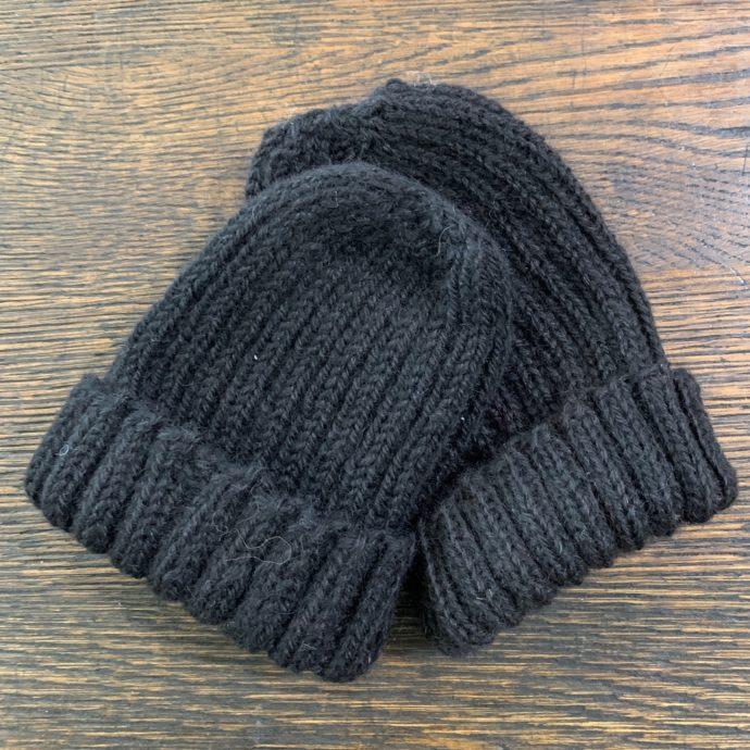 Kid's Black Knit Alpaca Hat