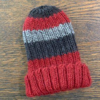 Kid's Black, Grey, and Red Knit Alpaca Hat