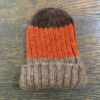 Kid's Brown and Orange Knit Alpaca Hat