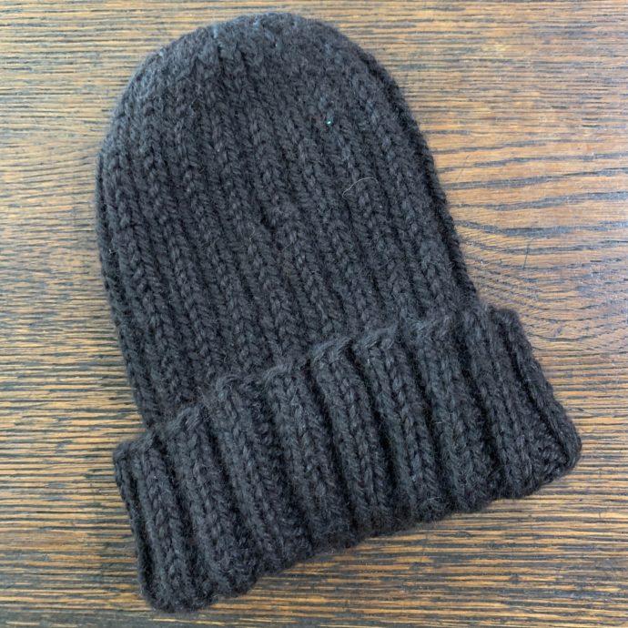 Hand Knit Black Alpaca Hat
