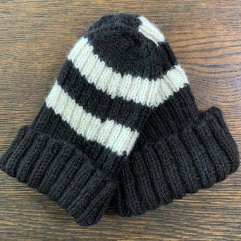 Hand Knit Black and White Alpaca Hat