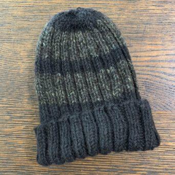 Hand Knit Black Striped Alpaca Hat