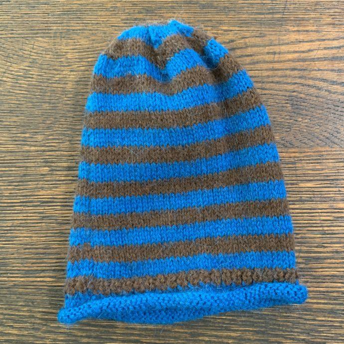 Blue and Grey Striped Alpaca Hat