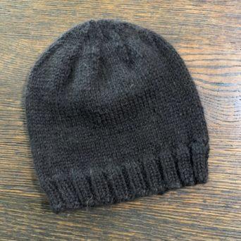 Black Knit Alpaca Hat