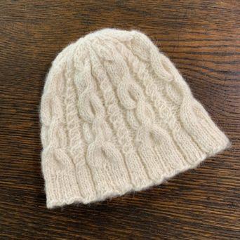 Cream Cable Knit Alpaca Hat