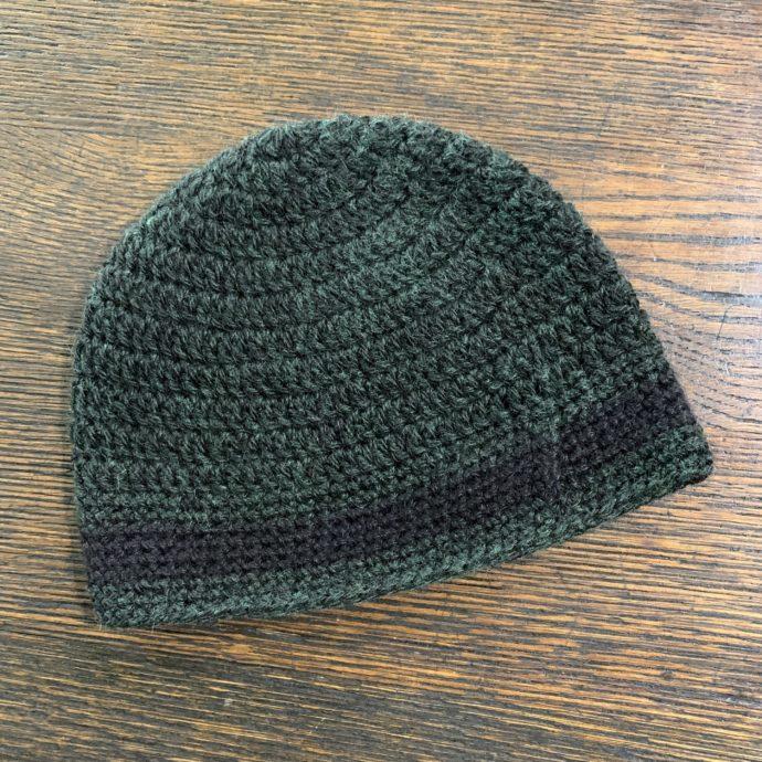 Black and Green Knit Alpaca Hat