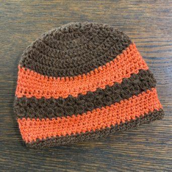 Brown and Orange Hand Knit Alpaca Hat
