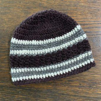 Black, Grey, and White Hand Knit Alpaca Hat