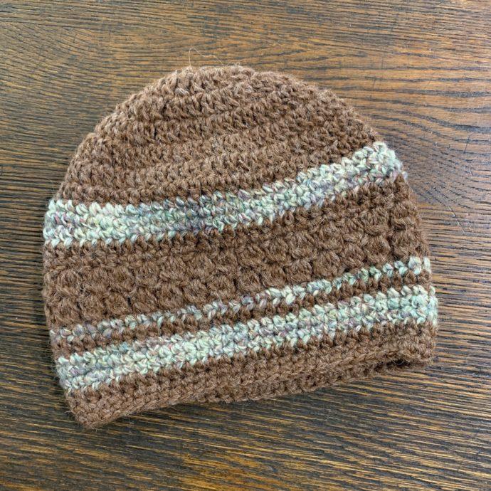 Brown Striped Hand Knit Alpaca Hat
