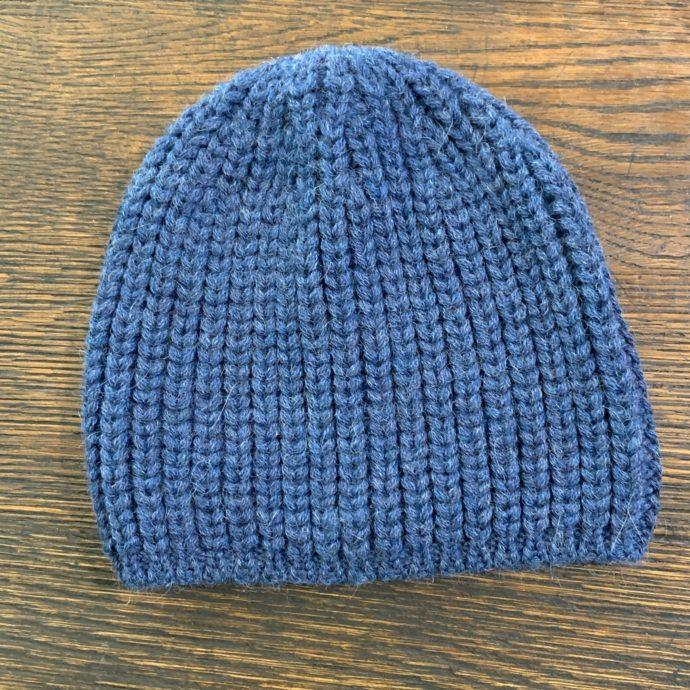 Men's Alpaca Knit Hat in Denim Blue