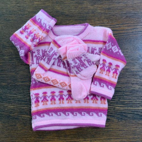 Kids Set - Pink Sweater, Hat, and Mittens