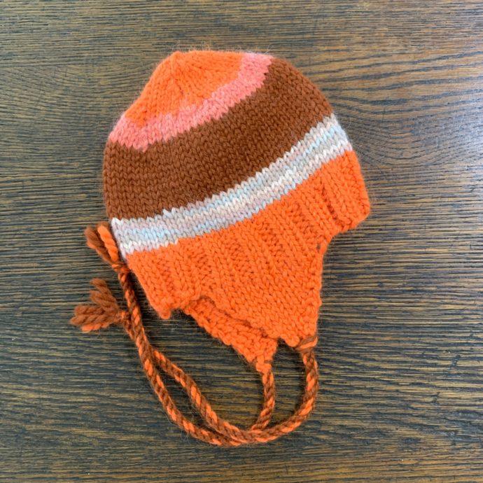 Kid's Striped Alpaca Hat in Orange and White