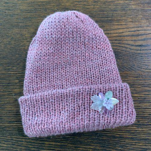 Pink Baby Alpaca Knit Hat w/ Flower Made by Grandma Lil