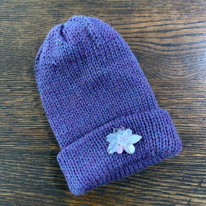 Purple Baby Alpaca Knit Hat w/ Flower Made by Grandma Lil