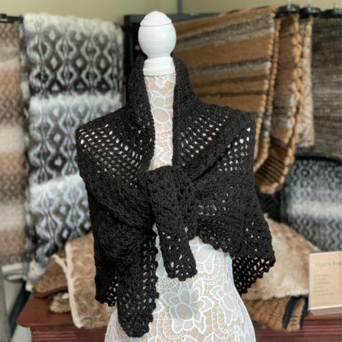 Black Crocheted Shawl in 100% Alpaca