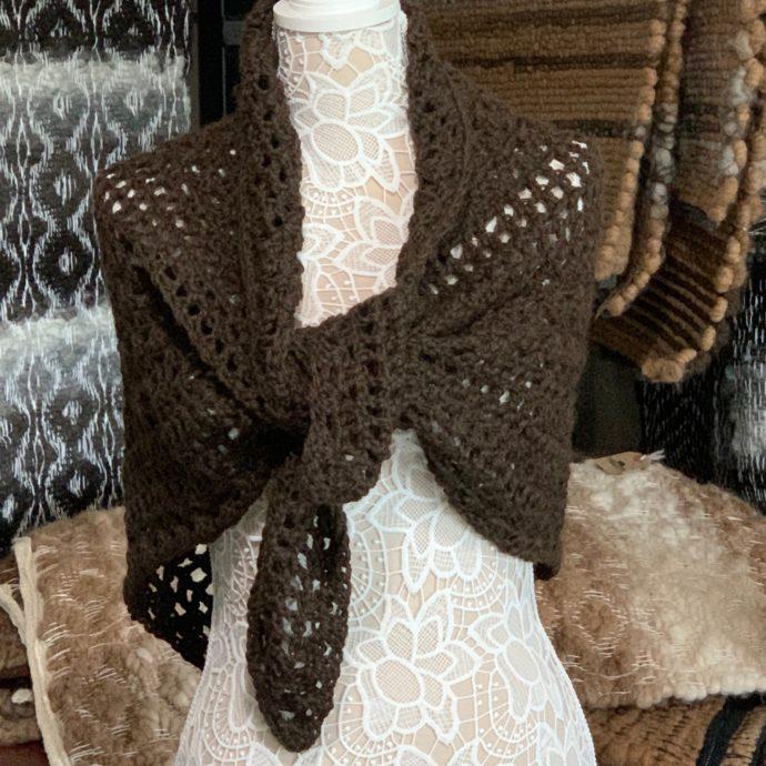 Dark Brown Crocheted Shawl in 100% Alpaca