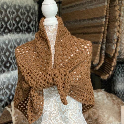 Dark Fawn Crocheted Shawl in 100% Alpaca