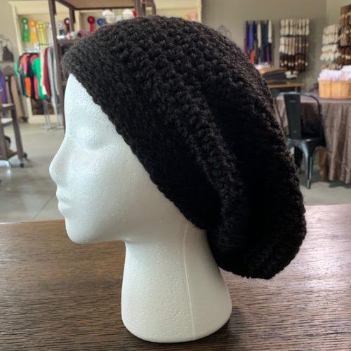 Black Slouch Hat in Baby Alpaca