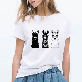 Be Cool Alpaca Print T-Shirt