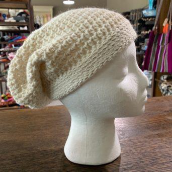 Cream Slouch Hat in Baby Alpaca
