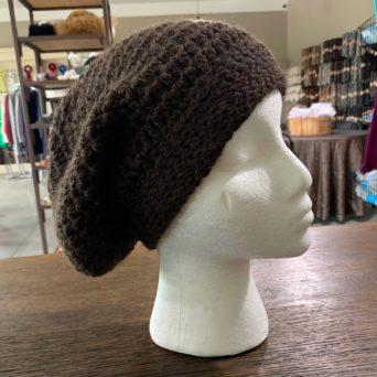 Dark Brown Slouch Hat in Baby Alpaca