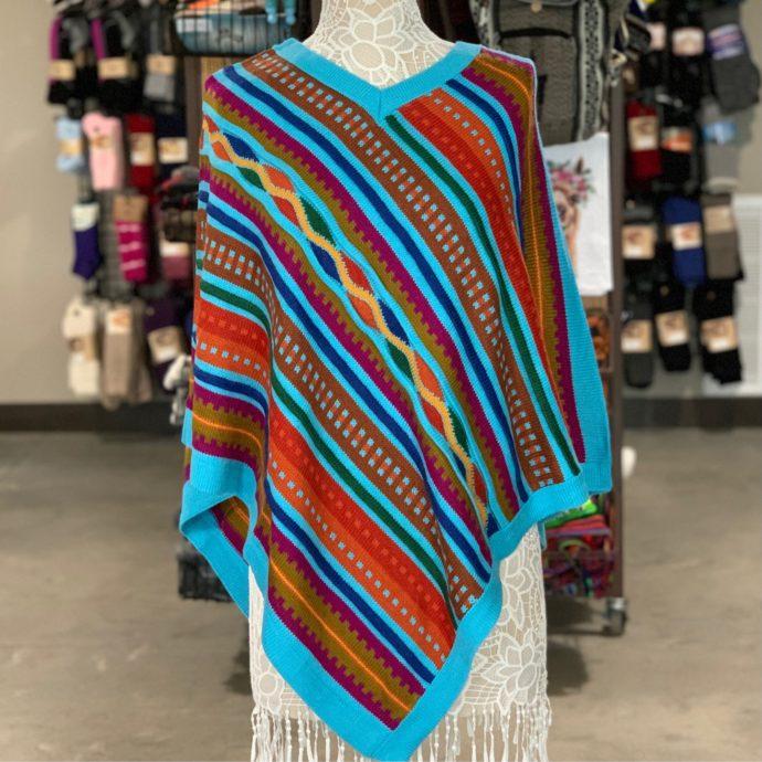 Blue Alpaca Poncho With Stripes and V-Neck Collar