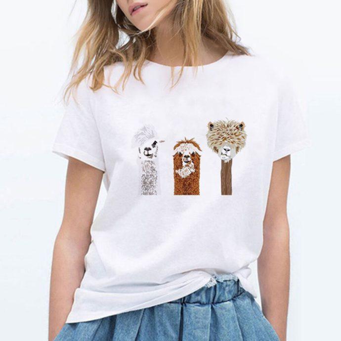 Alpaca Print T-Shirt W/ 3 Alpacas