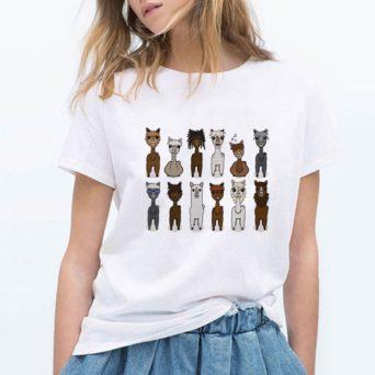 Alpaca Print T-Shirt W/ 12 Cartoon Alpacas