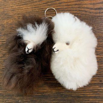 Small Alpaca Head PomPom Keychain