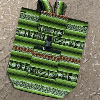Handmade Peruvian Cloth Backpack Green