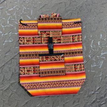 Handmade Peruvian Cloth Backpack Orange and Yellow