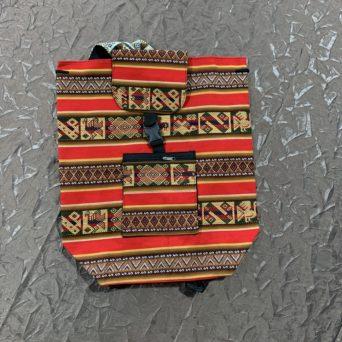 Handmade Peruvian Cloth Backpack Orange