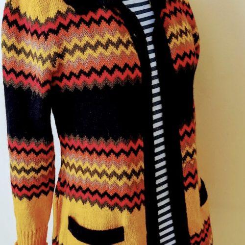 Black Alpaca Zigzag Sweater