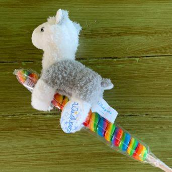 Swirl Candy Stick With Stuffed Alpaca